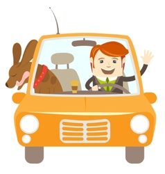 Hipster-traveler driving a car with his dog vector