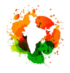 Map of india with colorful ink splashes vector