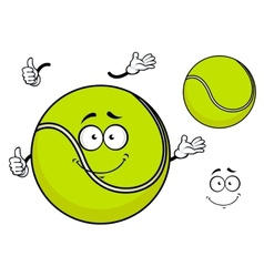 Smiling green cartoon tennis ball vector