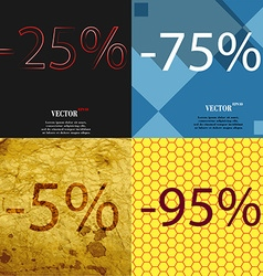 75 5 95 icon set of percent discount on abstract vector