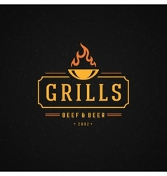 Grill design element in vintage style for logotype vector