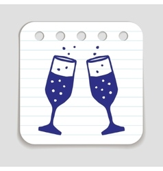 Doodle champagne glasses icon vector