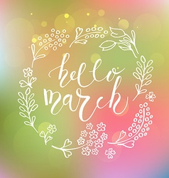 Hello march postcard card invitation flyer banner vector