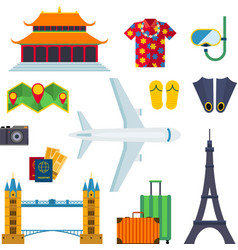 Airport travel icons vacation flat vector