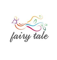 Abstract icon cute fairy tale bird vector