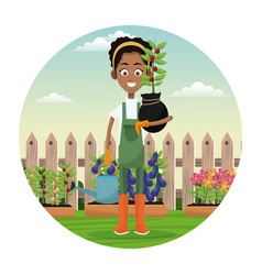 African woman farmer plant and water can garden vector