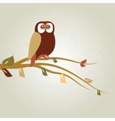 Autumn background with cartoon owl on tree branch vector