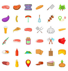 Barbecue food icons set cartoon style vector