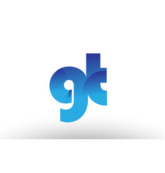 Blue gradient gt g t alphabet letter logo vector