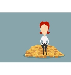 Cartoon lady sitting on gold vector