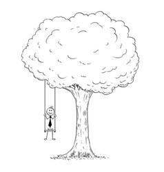 Cartoon of businessman sitting on the swing vector