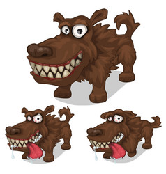 cartoon smiling and mad dog pet vector image