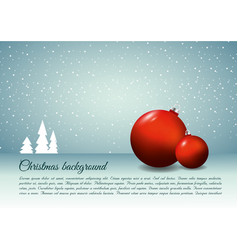 Christmas background with christmas ball in red vector