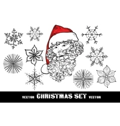 Christmas doodle set include santa with red hat vector