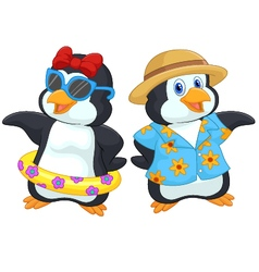 Cute cartoon penguin in summer holiday vector image vector image