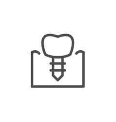 dental implant line icon vector image vector image
