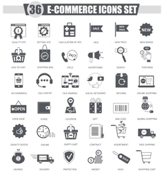 E-commerce black icon set Dark grey vector image vector image