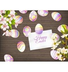 Easter eggs on wooden background eps 10 vector