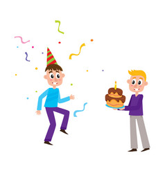 Flat birthday party scenes set vector