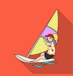 girl in swimsuit on a sailing boatthe athlete vector image vector image