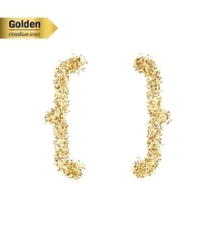 Gold glitter icon of curly bracket isolated vector