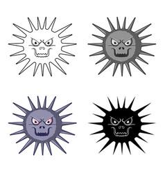 Gray virus icon in cartoon style isolated on white vector