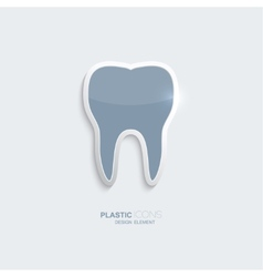 Plastic icon tooth symbol vector image vector image