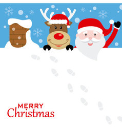 Santa claus and reindeer on the roof vector image