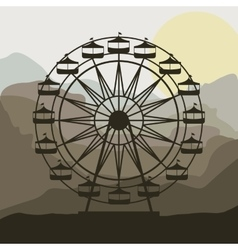 Scene background ferris wheel in thematic park vector