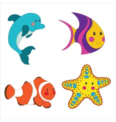 Set of cartoon sea creatures vector
