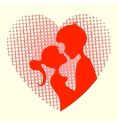 Silhouette of the heart boys and girls vector