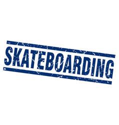 Square grunge blue skateboarding stamp vector