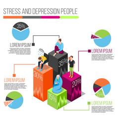 Stress people isometric infographics vector