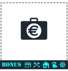 Suitcase icon flat vector