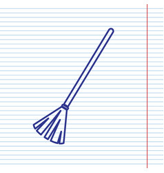 Sweeping broom sign navy line icon on vector