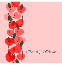 Valentines greeting card with translucent hearts vector image