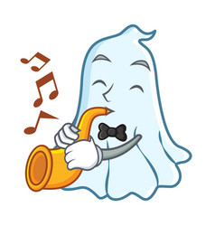 with trumpet cute ghost character cartoon vector image vector image