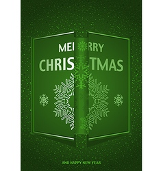 Green merry christmas greeting vector