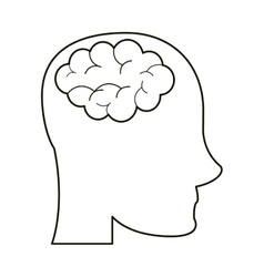 Person head brain think outline vector