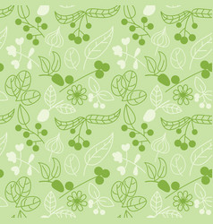 Seamless pattern with summer plants flowers and vector