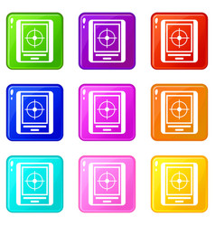 Radar icons 9 set vector