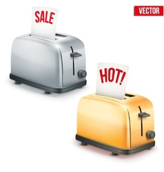 Set of bright retro toasters with message sale and vector
