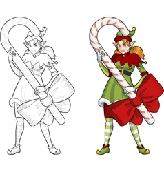 Christmas elf red caucasian girl with candy vector