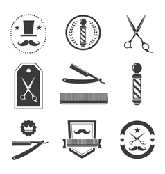 Barber shop logo labels badges vintage vector