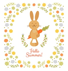 Cute summer card with little rabbit vector