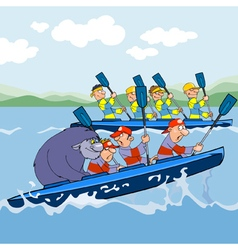 Cartoon rowing competitions vector