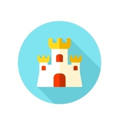 Sand castle flat icon with long shadow vector