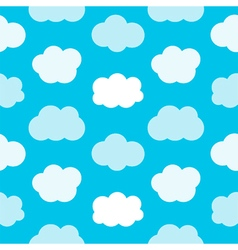 Flat design cute blue sky with clouds pattern vector