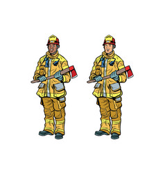 African american and caucasian firemen in uniform vector