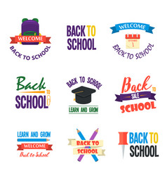Back to school calligraphic designs label style vector